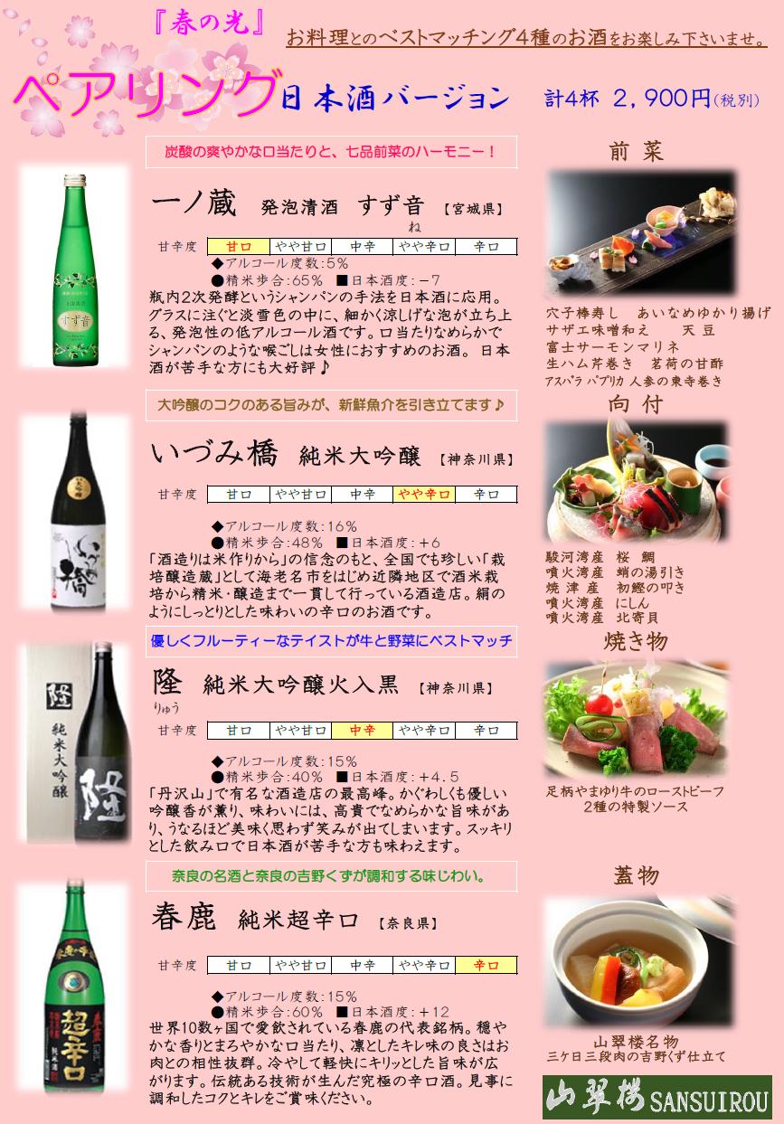 日本酒と料理のペアリング